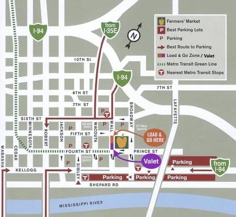 St. Paul Farmers Market Parking Map