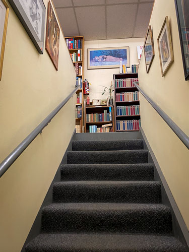 midway used and rare books stairs